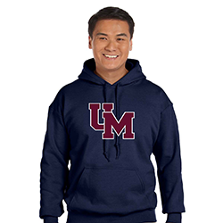 Navy Pullover Hoody with Block Two-Tone UM