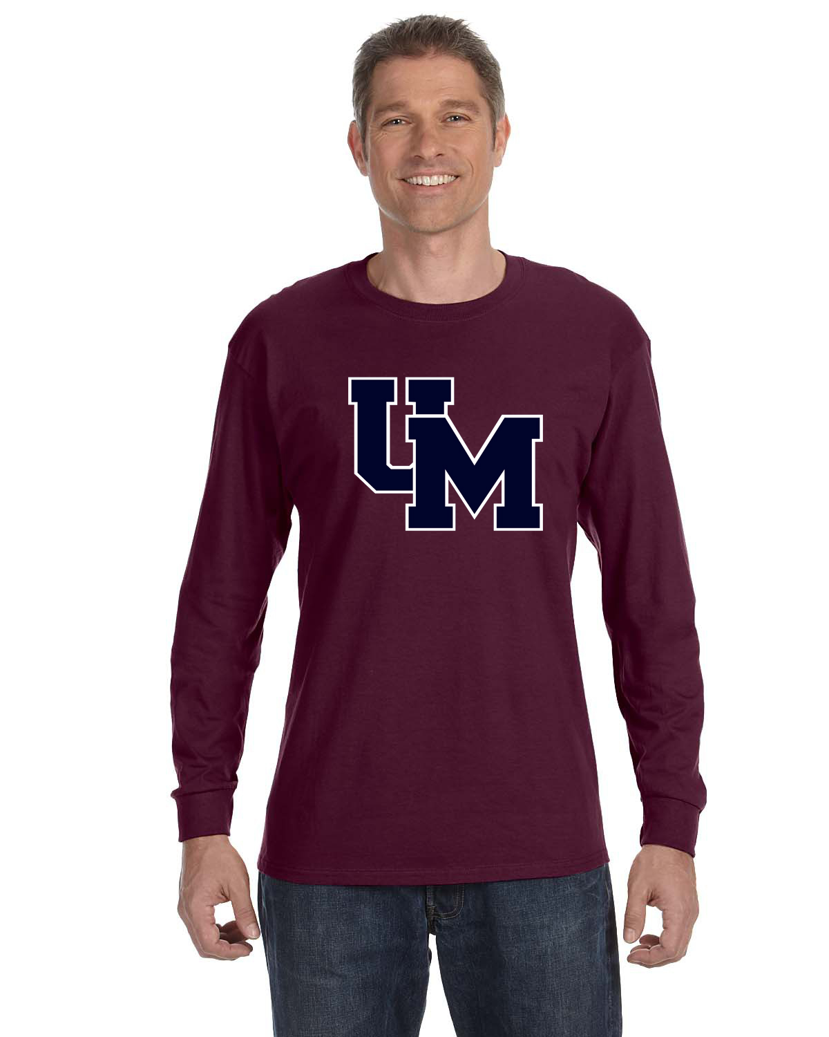 Long Sleeve Tee shown in Burgundy with Two-Tone Block UM